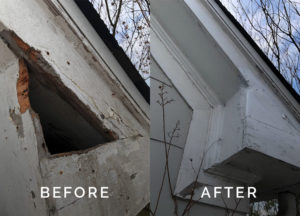 Raccoon entry hole seal up and repair